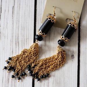 new vintage gold chain fringe black earrings big